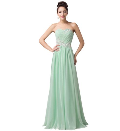 Mint Pastel Green Long Strapless Women\'s Formal Dress - Bridesmaids ...
