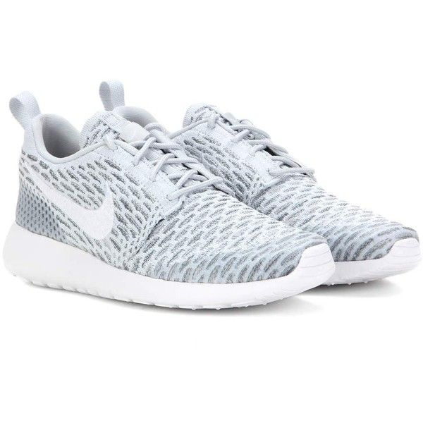 Nike Nike Roshe One Flyknit Sneakers found on Polyvore featuring shoes, sneakers, nike, grey, nike shoes, nike footwear, nike sneakers, gray shoes and grey shoes