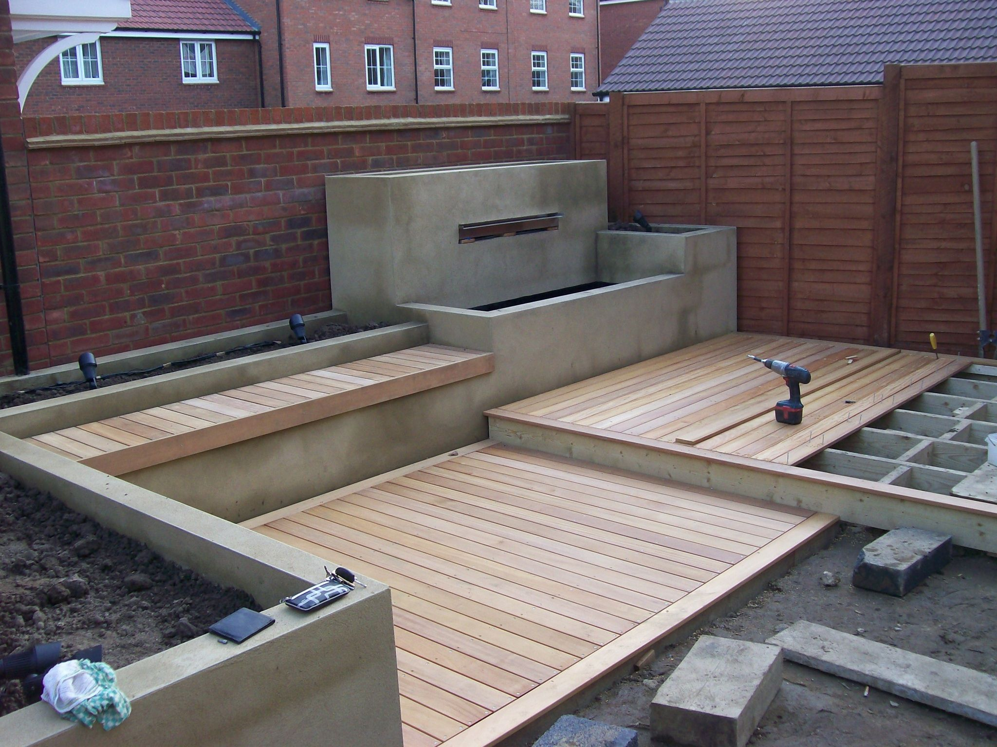 Installing Garapa Deck With Built In Water Feature Bench