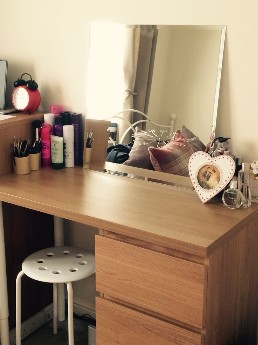 Ikea dressing table to match malm oak range used the malm for Narrow dressing table with drawers