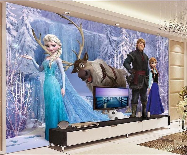 3d Ice Queen Elsa Frozen Cartoon Wallpaper For Walls Kids Room Mural Wall Wallpaper Kids Room Murals Kids Room Wall Murals