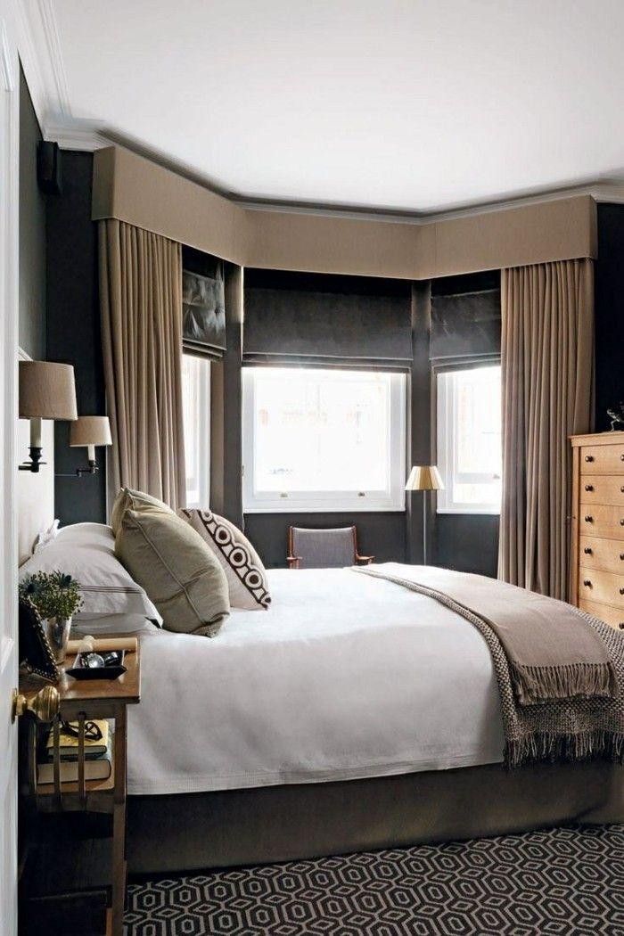 wohnideen schlafzimmer sichtschutz mit blickdichten gardinen ...