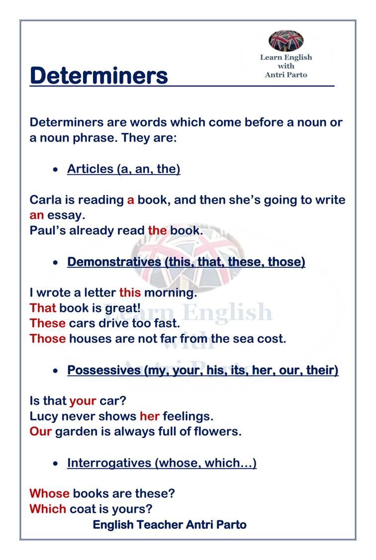 hight resolution of Determiners #LearnEnglish @AntriParto   Learn english