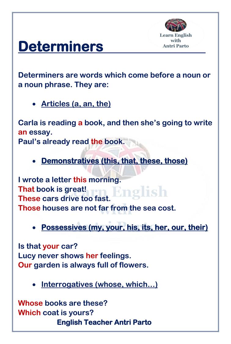 Determiners #LearnEnglish @AntriParto   Learn english [ 1125 x 756 Pixel ]