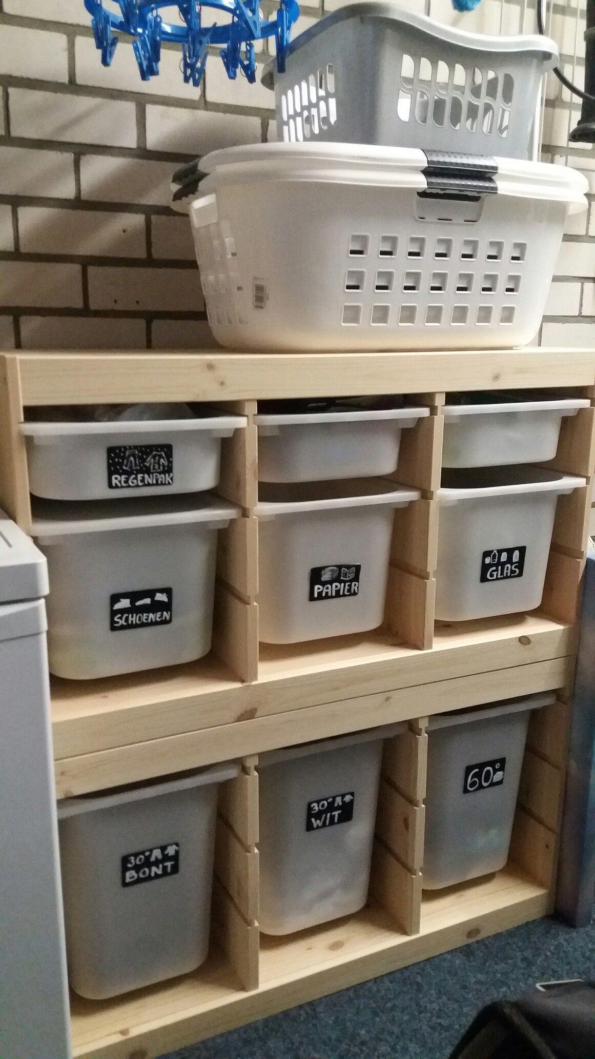 Bijkeuken Organiser Van Ikea Trofast Kast Hauswirtschaftsraum Diy Waschkuche Hauswirtschaftsraum Ideen