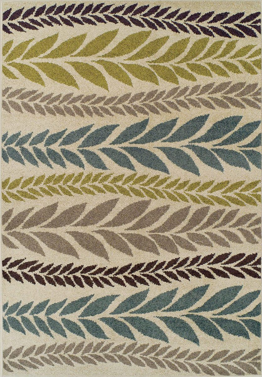 Modernrugs Com Marcello Fronds Beige Green Blue Gray Black