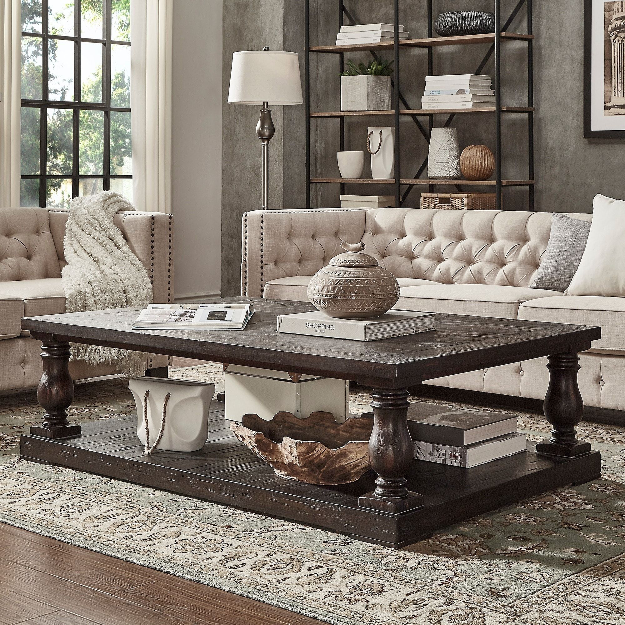 Edmaire Rustic Baluster 60 Inch Coffee Table By Inspire Q Artisan Furniture Room Decor Home Decor