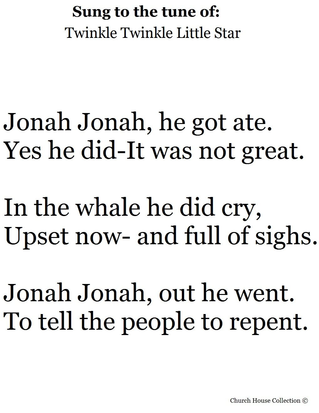 Jonah and the Whale Song To the tune of Twinkle twinkle little star ...