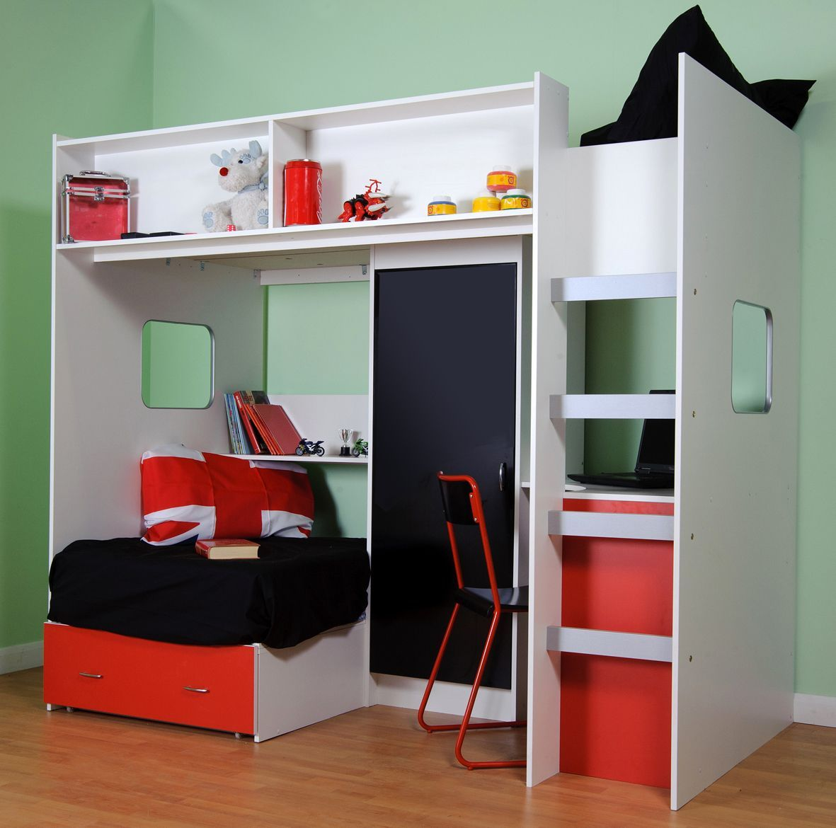 Medium image of childrens and teenagers high sleeper bed with futon style bed wardrobe and desk