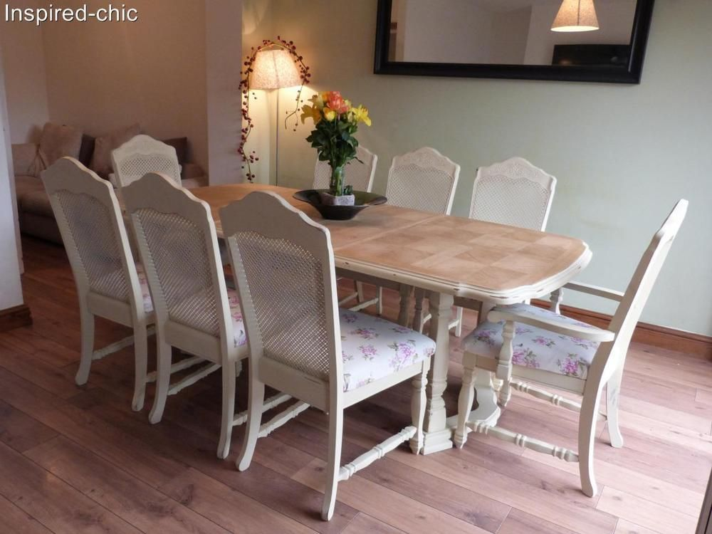 Stunning Shabby Chic French Oak Dining Table And 6 Chairsannie Prepossessing Oak Dining Room Table And 6 Chairs Inspiration Design