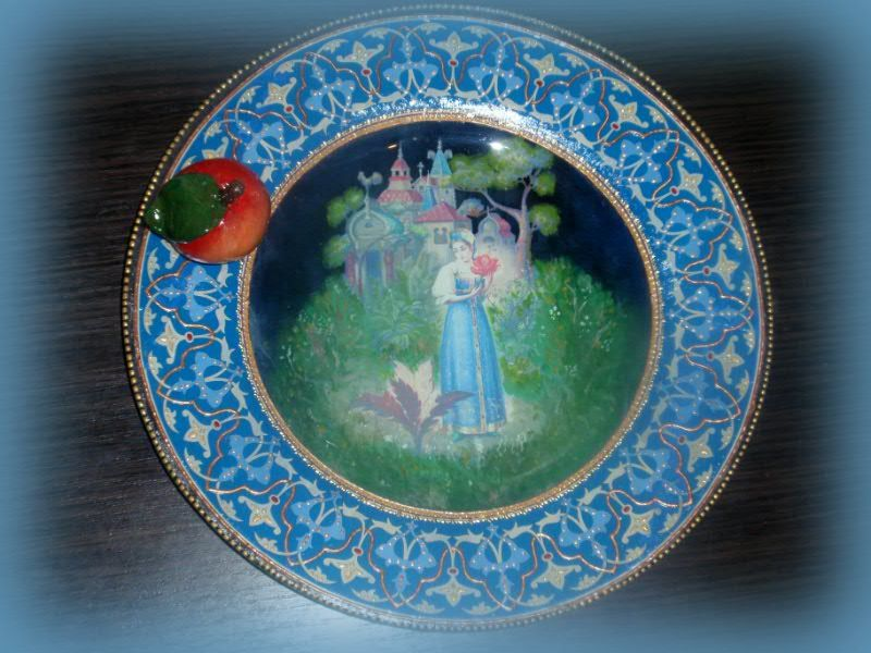 """Illustrations to the Russian tale """"The silver saucer and filler apple"""" - apple rolls on the saucer and saucer owner sees what happens with a loved one"""
