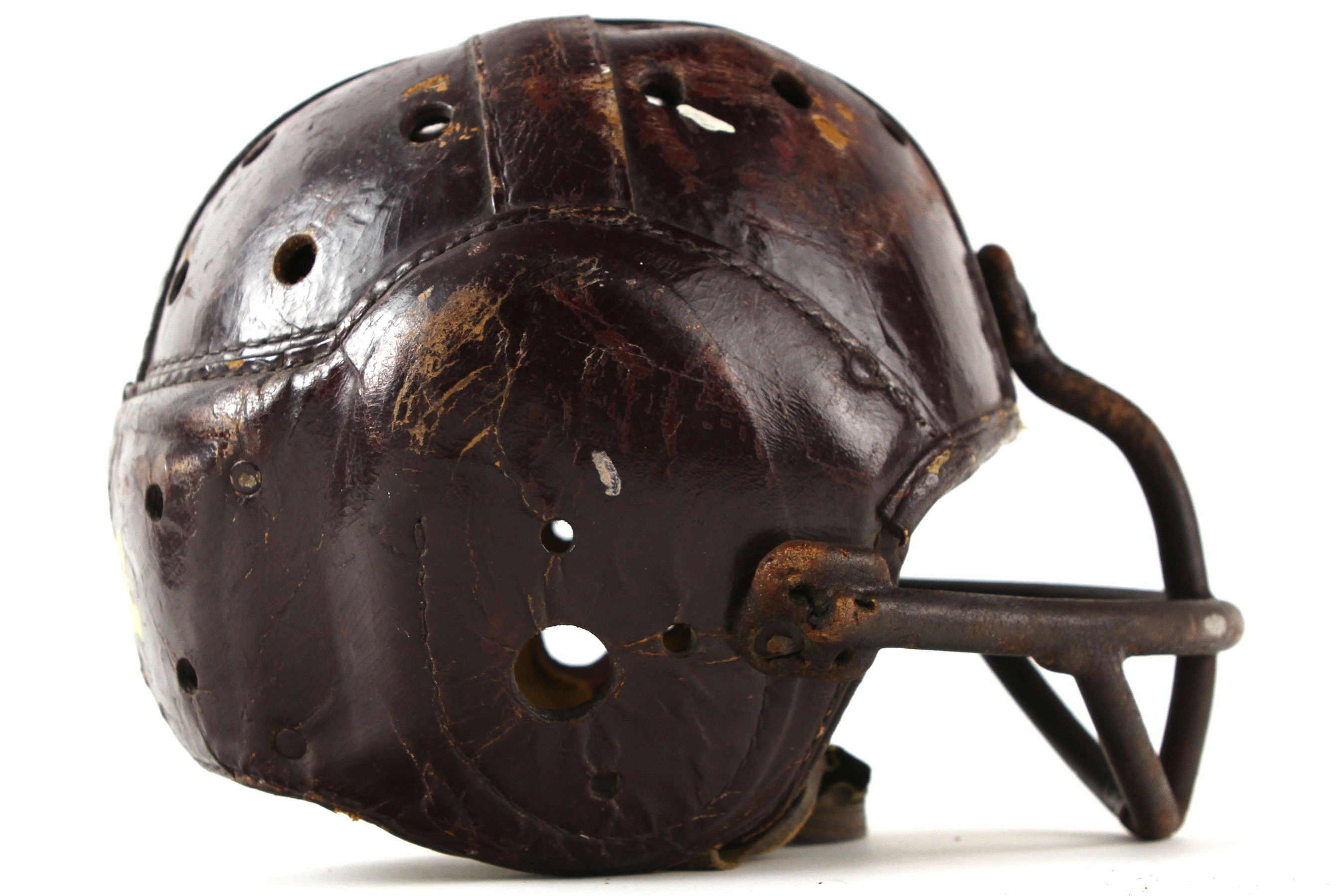 f9959526 1941-42 Game Worn Leather Football Helmet w/ Facemask & Chin Strap ...