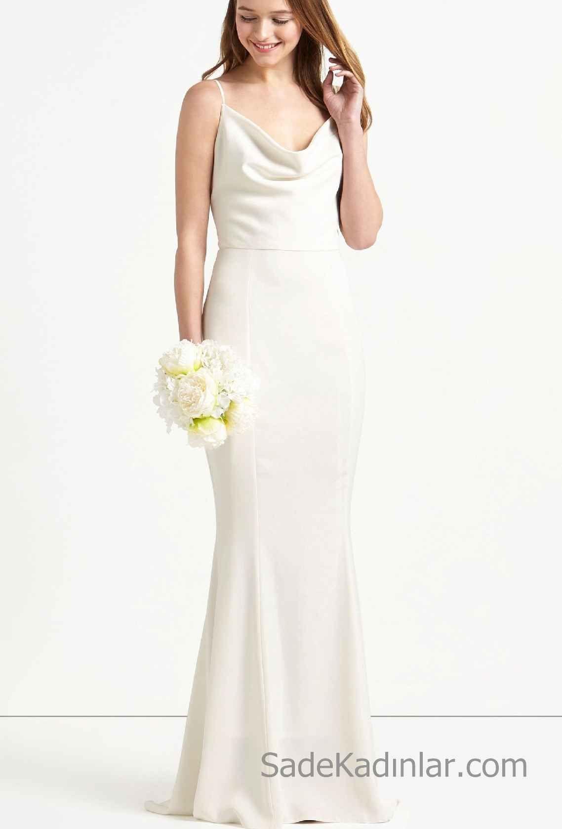 2018 Beyaz Elbise Modelleri Sirt Dekolteli Uzun Saten Elbise Kisa Gelinlikler The Dress Gelinlik
