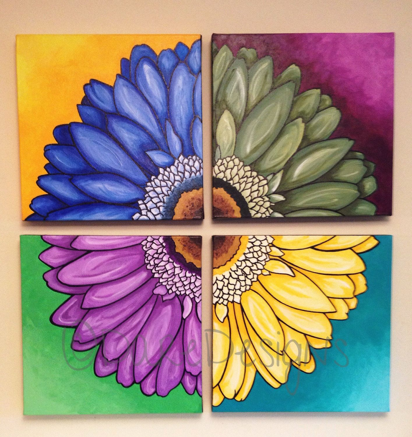 4 Piece Wall Art Acrylic Flower Painting Hand Painted Floral Etsy In 2021 Floral Painting Flower Painting Floral Artwork
