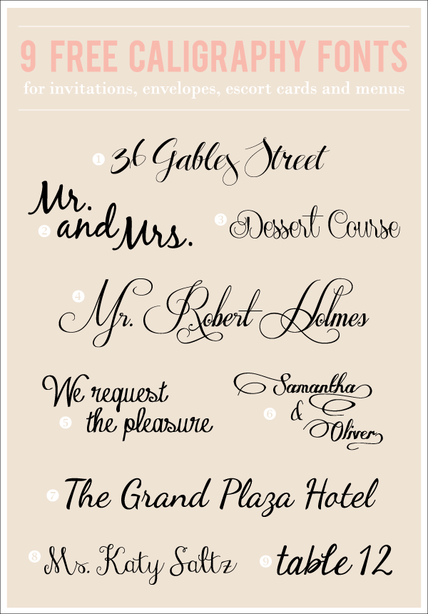 9 totally free caligraphy fonts w easy download links - Fonts For Wedding Invitations