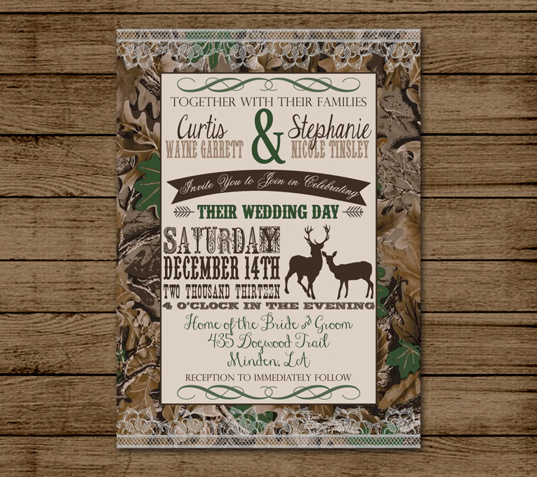 deer hunter wedding invitations%0A Customized Wedding Invitation Camo Deer Camouflage by andyneal