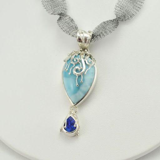 [3578] sterling silver larimar australian opal pendant