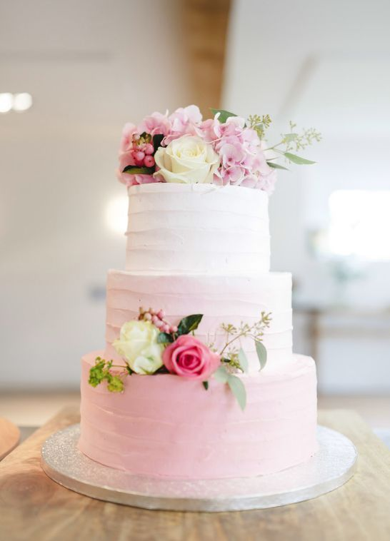 Three Tier Light Pink Ombre Wedding Cake Buttercream