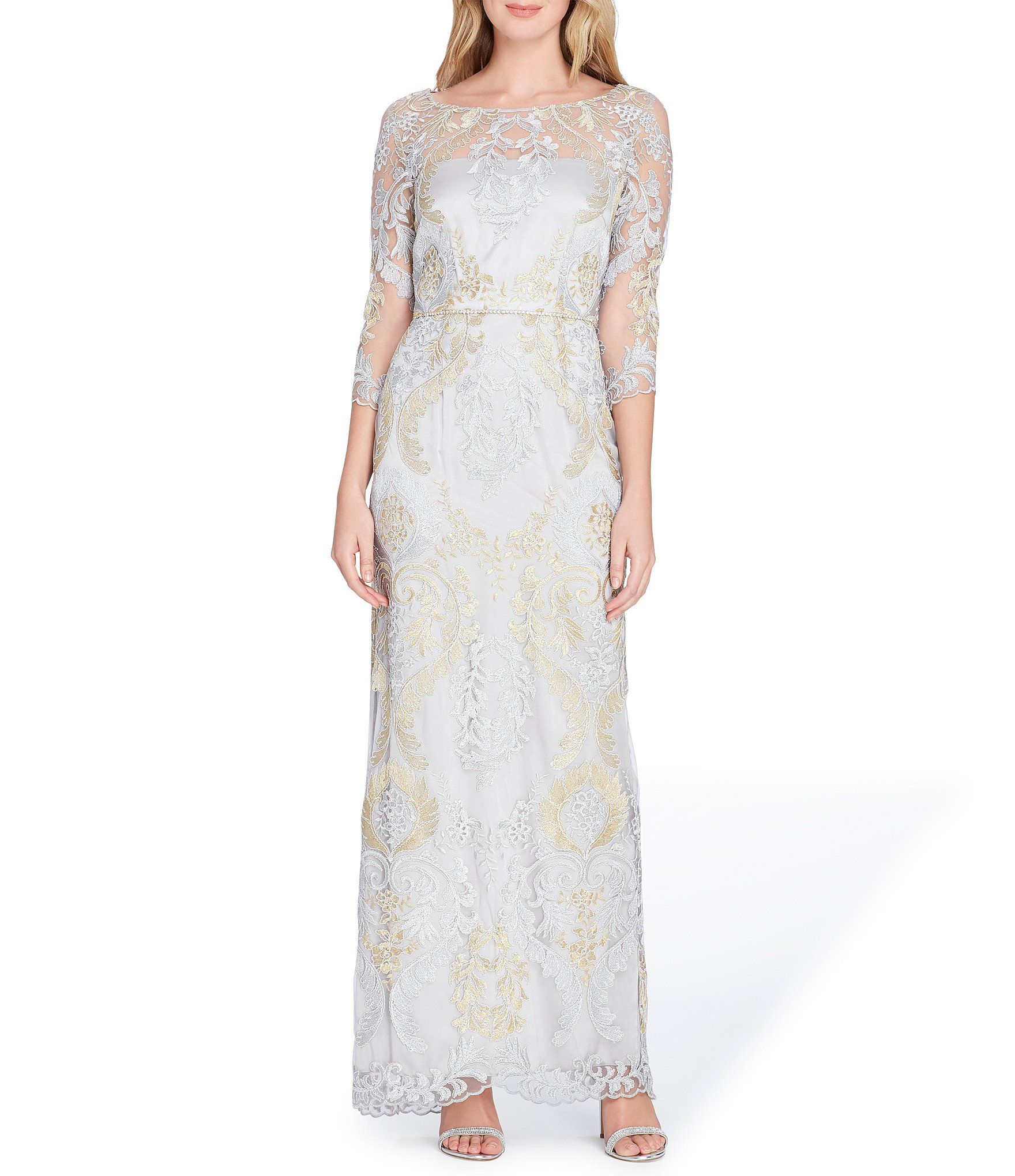 Tahari Asl Metallic Embroidery Gown Dillards Embroidered Gown Gowns Womens Dresses [ 2040 x 1760 Pixel ]