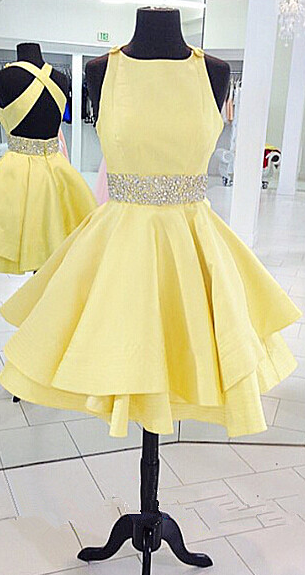 Round Neck Yellow Homecoming Dress Women Beading Short Prom Dress ...