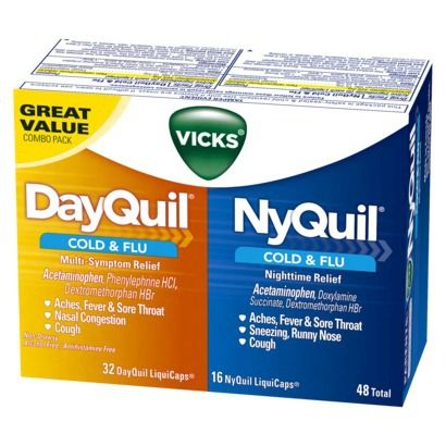 Vicks DayQuil & NyQuil Cold & Flu Relief Combo Pack - 48 LiquiCaps Total (32 DayQuil-16 NyQuil)