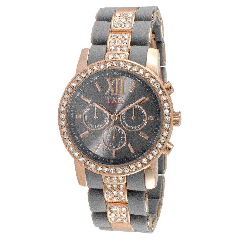 Women's Tko Crystal Bezel Multiple Function Calendar Bracelet Watch - Gray, Grey