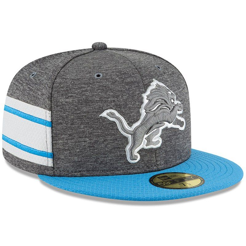 2baf9998754eac Detroit Lions New Era 2018 NFL Sideline Home Graphite 59FIFTY Fitted Hat – Heather  Gray/Blue