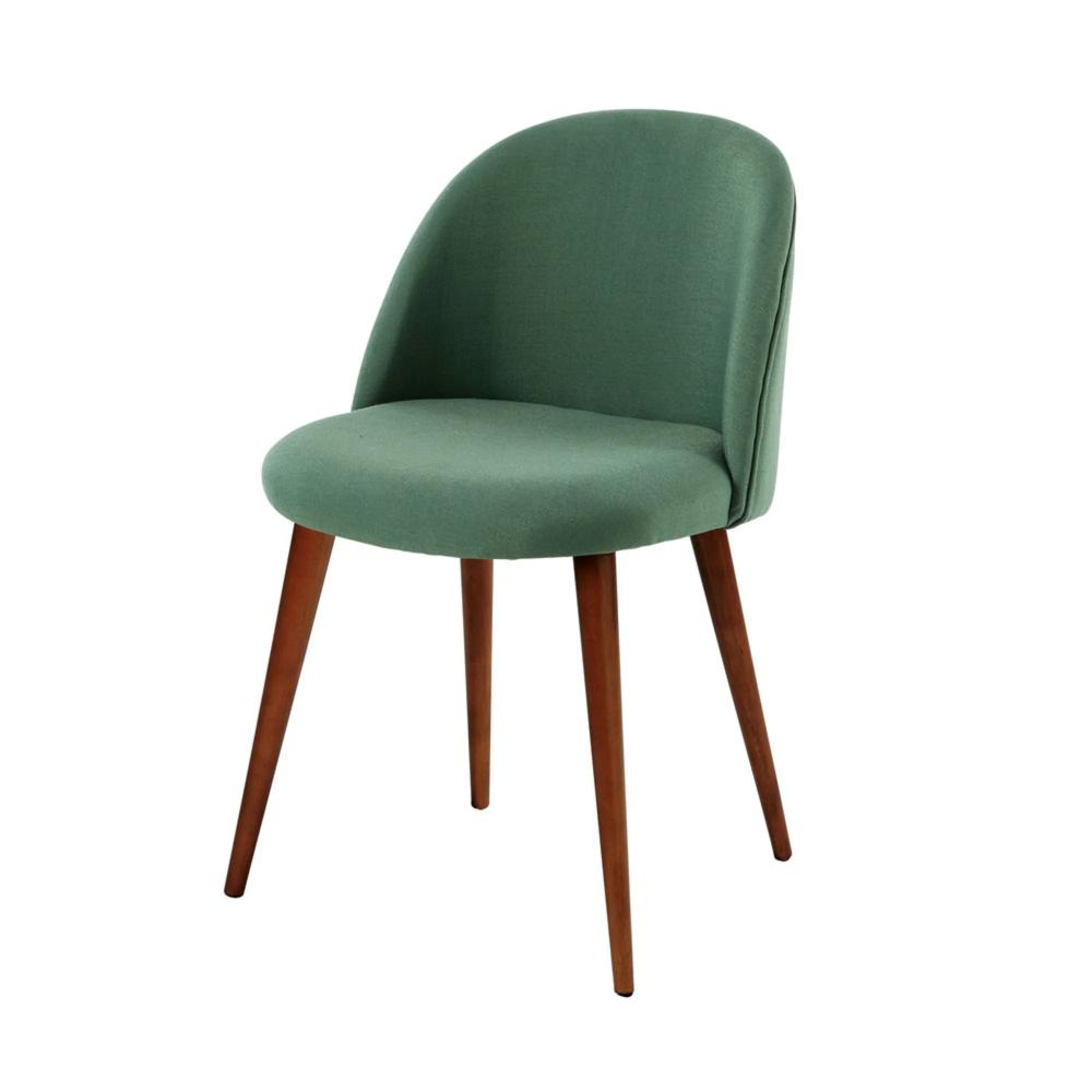 Chaise vintage verte et bouleau massif Mauricette  Maisons du