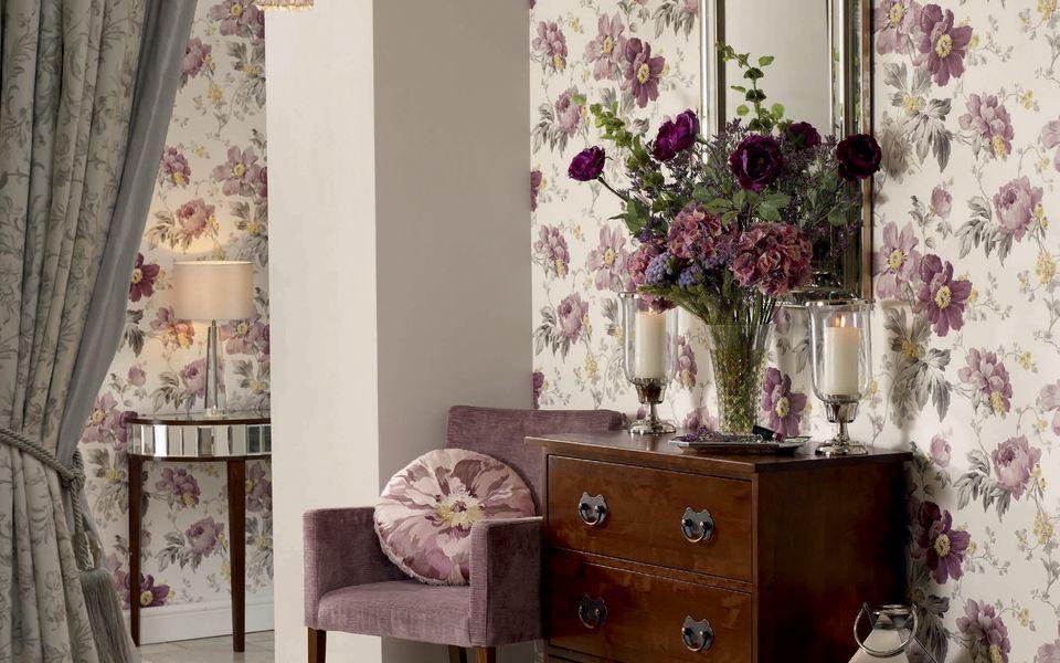 Peony Garden Amethyst Floral Wallpaper