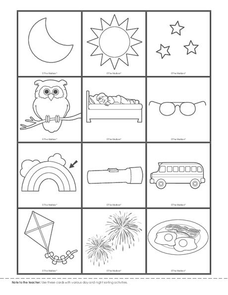 Day And Night Sorting Cards Lesson Plans The Mailbox Preschool Circle Time Teaching Preschool Preschool Worksheets