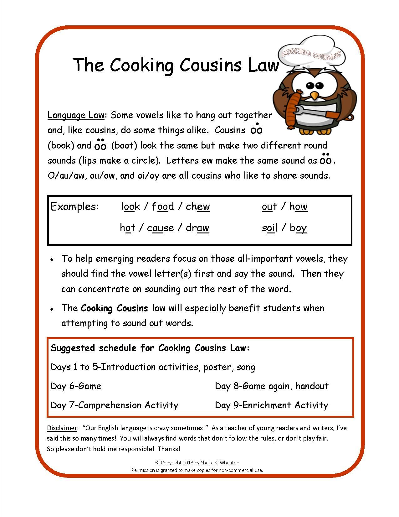 Language Law 8 Cooking Cousins