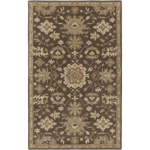 Willard Oriental Handmade Tufted Wool Chocolate Gray Area Rug