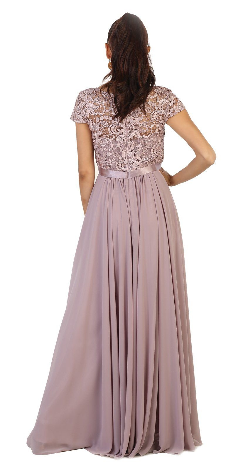a7d67585b24 May Queen MQ1486 Short Sleeve Mother of The Bride Evening Dress M Mauve    More info could be found at the image url-affiliate link.  dresses