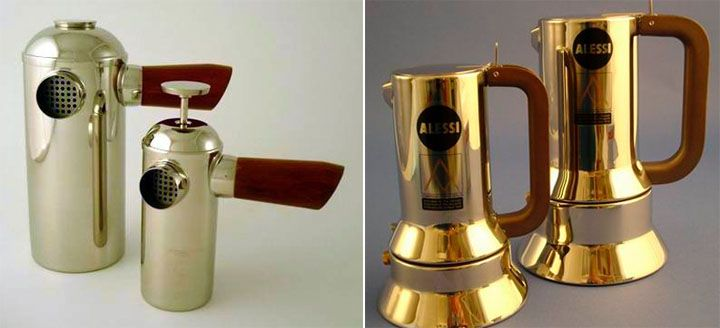 Beautiful wood steel coffee plunger on the right is the