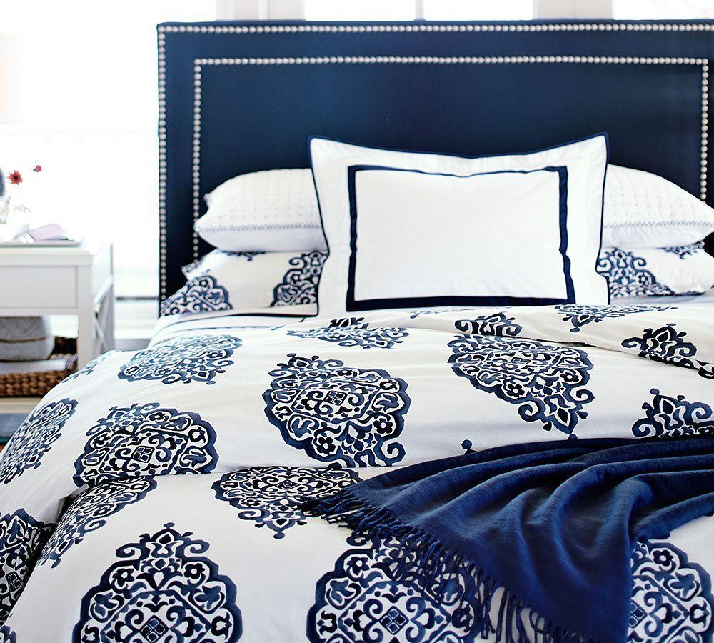 Deep blue bedding.