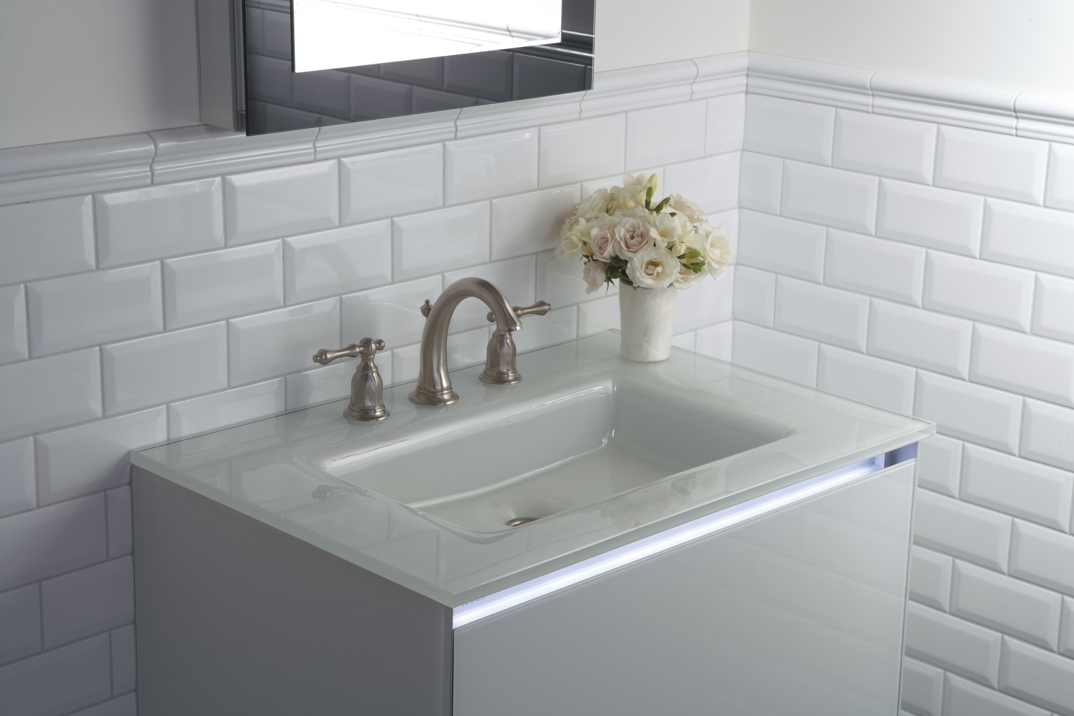 A Glass Vanity Top With Integrated Sink Is Beautiful Durable And