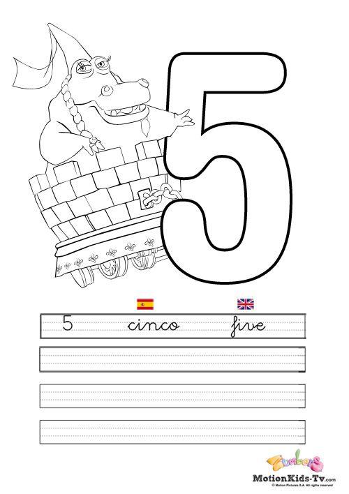 Pintas, educativos aprender numeros CINCO -- Coloring pages ...