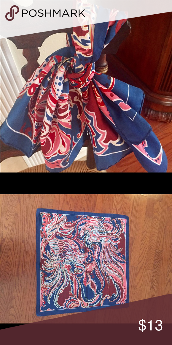 Blue, Pink, and Red Classy Scarf Cool color combo in this scarf! Pair with your white blouse and fabulous red trousers for a completely gorgeous outfit! NWOT Accessories Scarves & Wraps