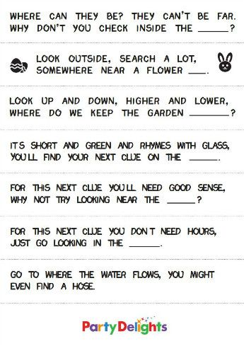Outdoor Treasure Hunt Riddles Google Search Easter Egg Hunt Clues Egg Hunt Clues Easter Egg Scavenger Hunt