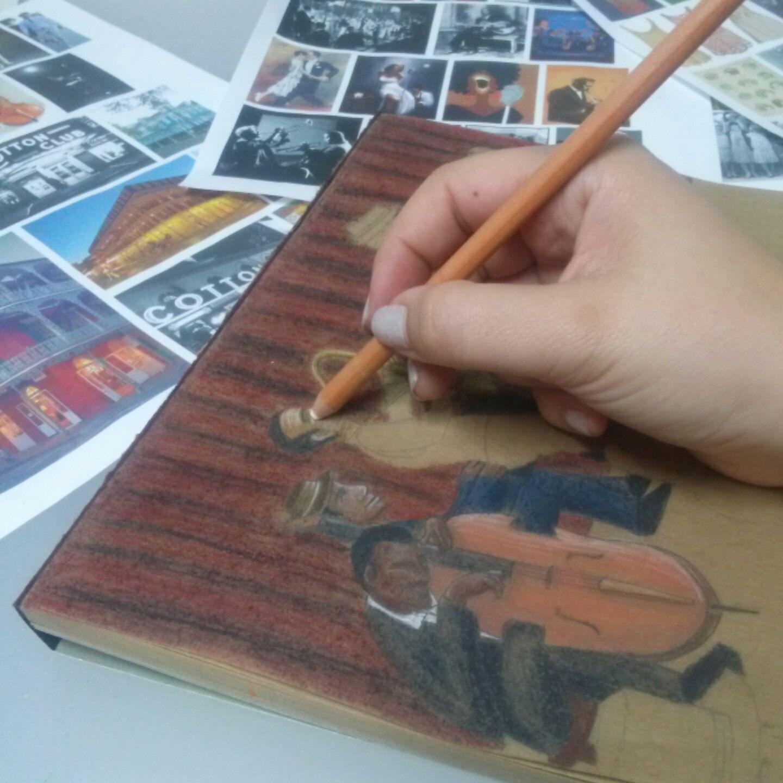 Work in progress on my Jazz show illustration. Billie
