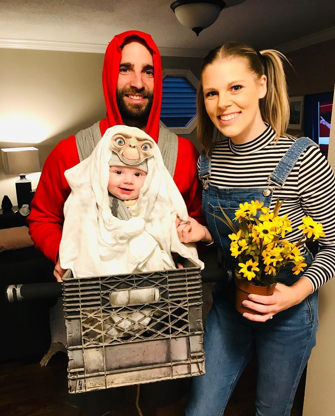 Baby as et wrapped in blanket family costumes first