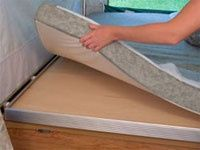 Pop Up Tent Trailer Mattress Put Tarp Under The Whole Bed Frame Section Or