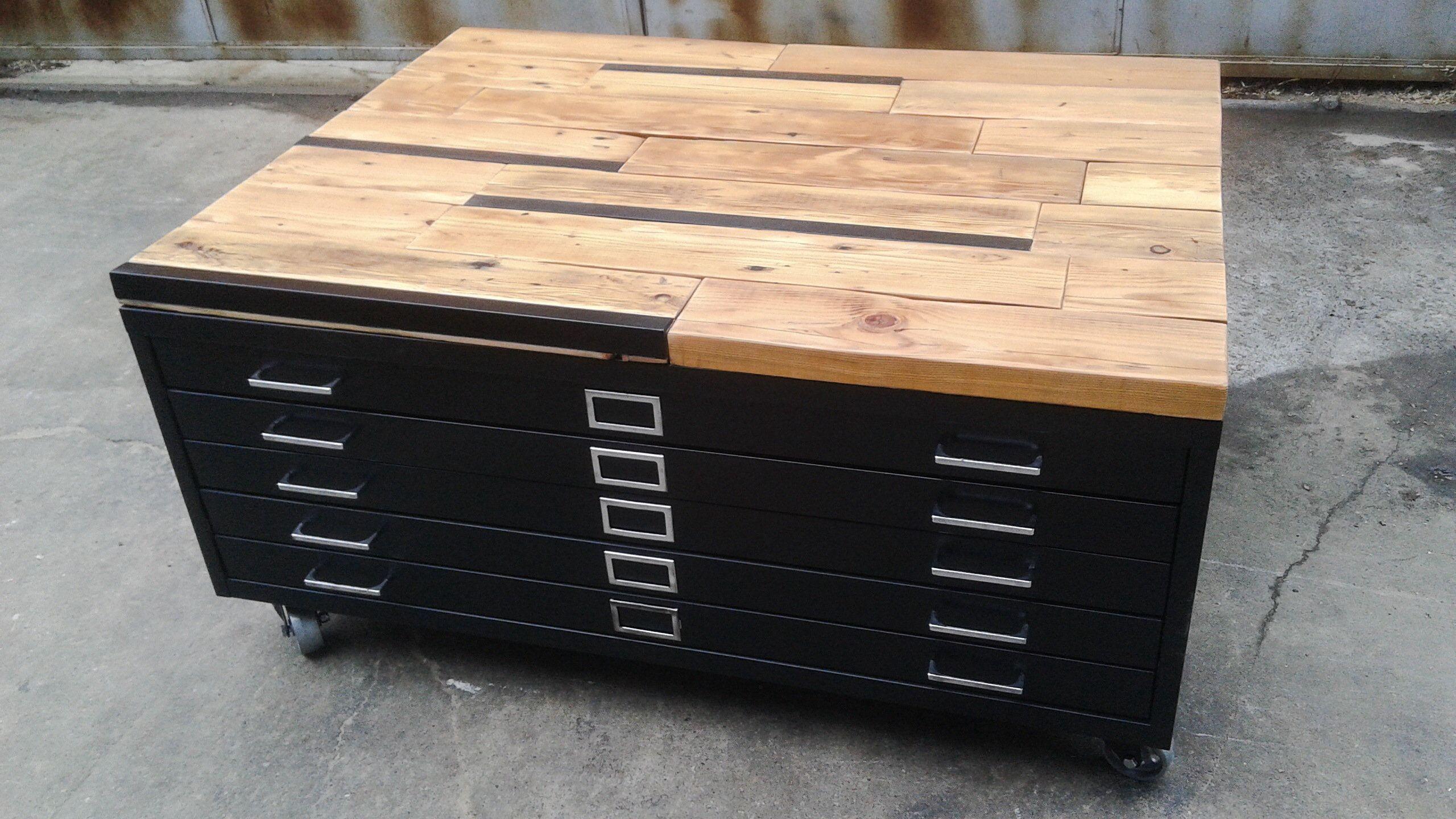 Flat File Coffee Table Industrial Coffee Table Chevron Coffee