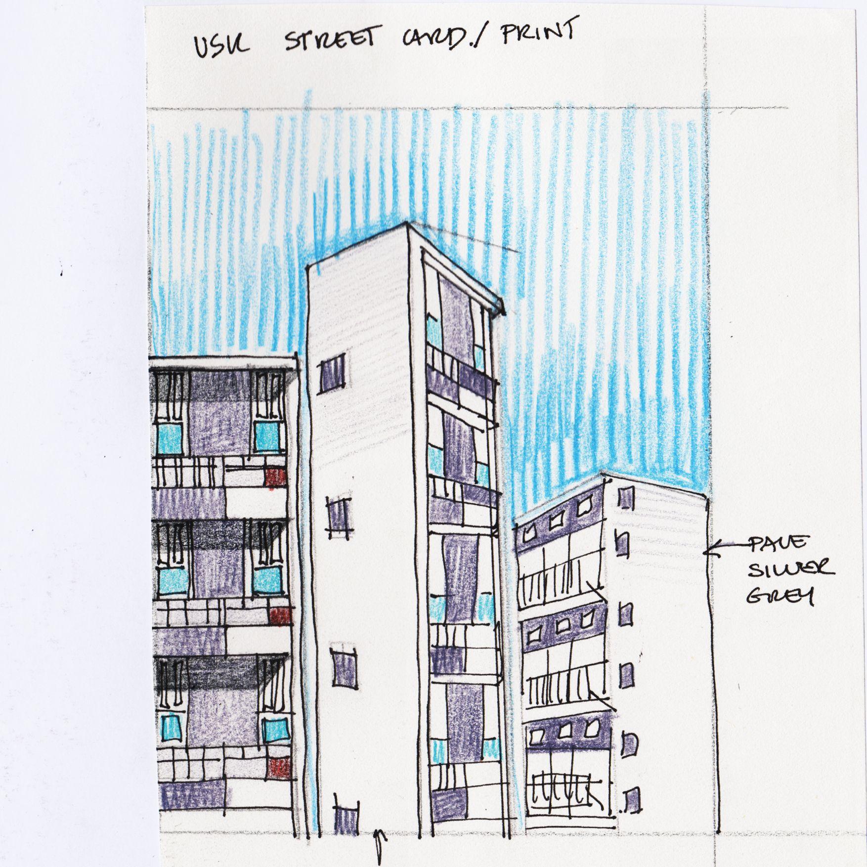 Sulkin House   Post Print Sketch   London E2 Architect Denys Lasdun. Hand  Drawings1960sArchitects
