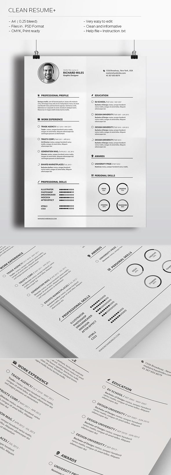 clean resume  by realstar   via behance