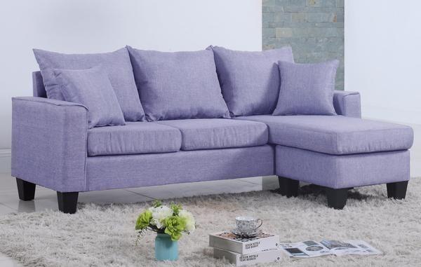 Lisa Modern Linen Small Sectional | Sofamania.com