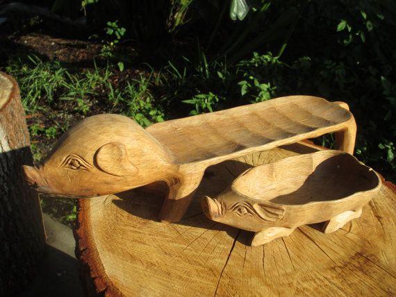 Hand Carved Wood Pig Serving Set Wooden Vintage Pigs Platter And