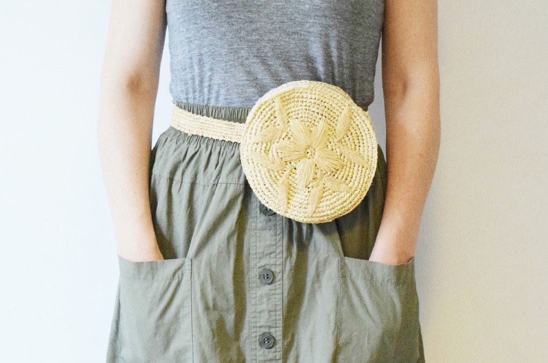 3c43779c43f Unique hand woven natural raffia circle belt bags with floral style raffia  embroidery and raffia belt. The must have bag for this season and just the  right ...