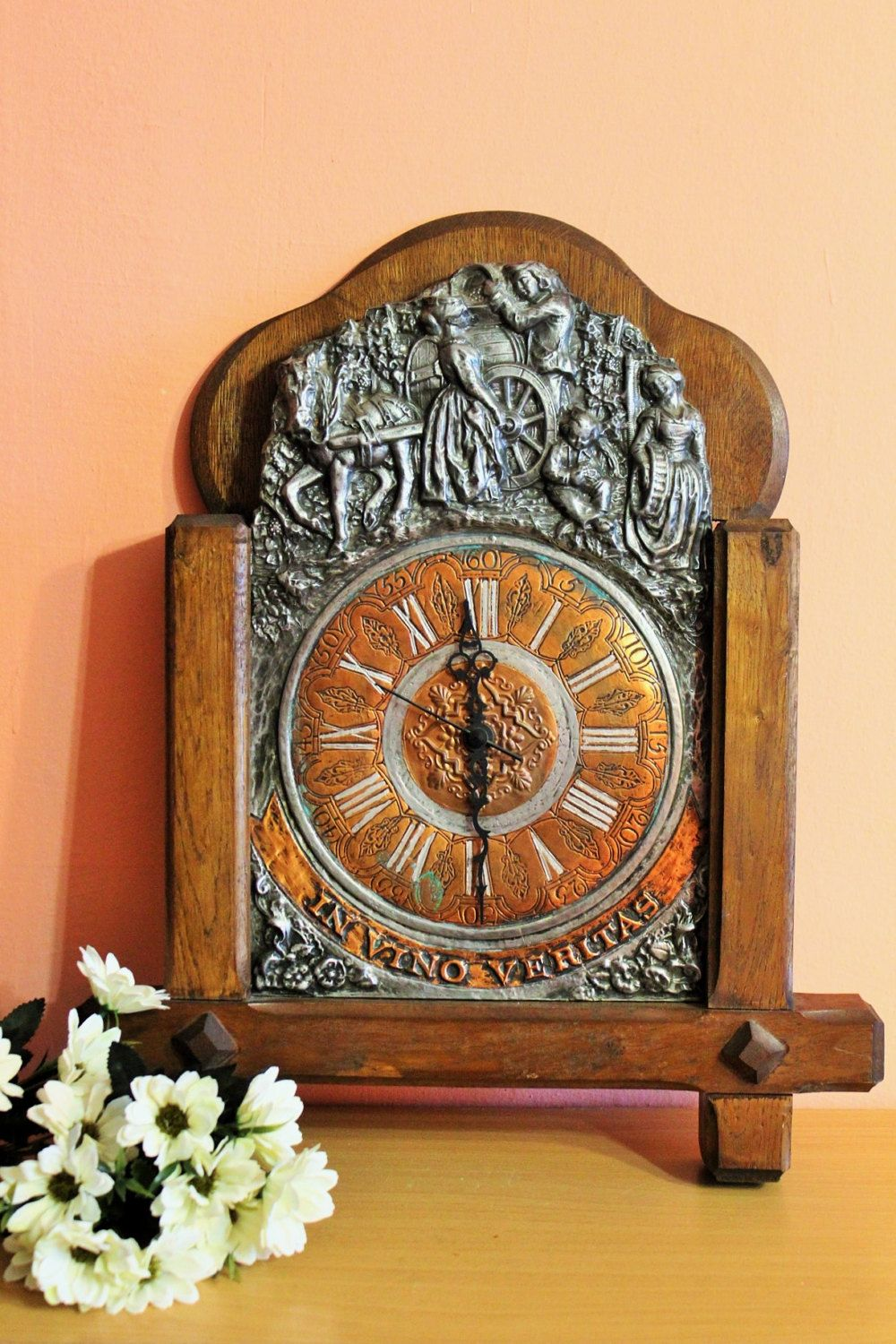 Beau Pewter And Wood Wall Clock, In Vino Veritas, Italian French Spain German Vintage  Home