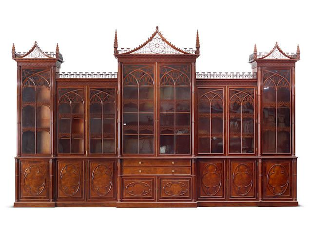 A Fine And Imposing George Iv Double Breakfront Mahogany Library Bookcase In The Gothic Sty Luxury Furniture Design Victorian Style Homes Chippendale Furniture